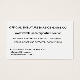 SIGNATURE BOUNCE HOUSE COMPANY BUSINESS CARD