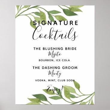 Art Themed Signature Cocktail bar sign botanical wedding