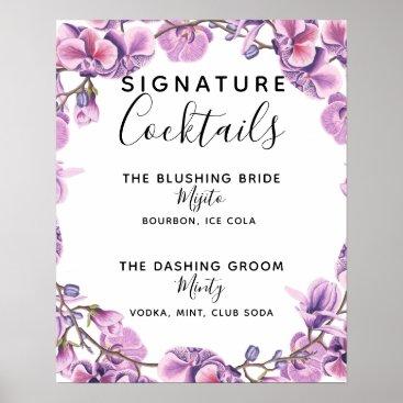 Art Themed Signature Cocktail bar sign purple wedding