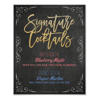 Signature Cocktail Drink Menu Wedding Decor Sign Poster