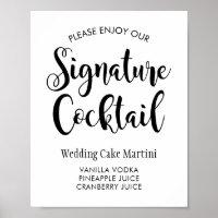 Signature Cocktail Poster Sign | Black Script