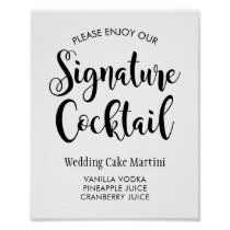 Signature Cocktail Poster Sign | Black Script