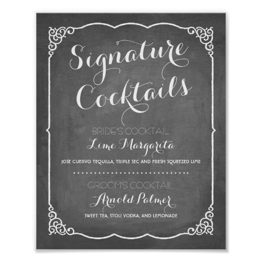 signature cocktails menu wedding decor