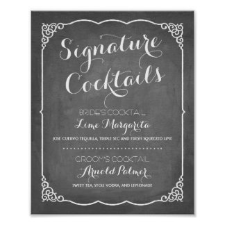 Signature Cocktails Menu | Wedding Decor Poster
