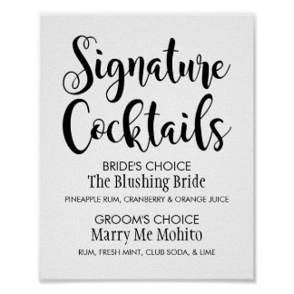 Signature Cocktails Poster Sign | Black Script