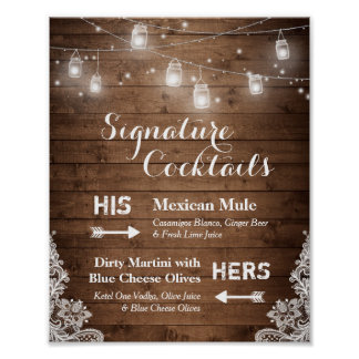 Signature Cocktails Rustic String Lights Lace Poster