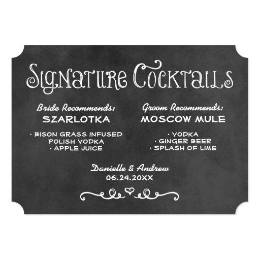 Signature Cocktails Sign   Black Chalkboard Card