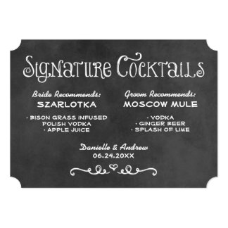 Signature Cocktails Sign | Black Chalkboard 5x7 Paper Invitation Card