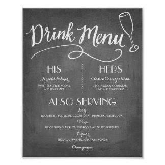 Signature Drink Menu | Wedding Decor Poster