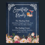 "Signature Drinks Cocktail Floral Navy Blue Wedding Poster<br><div class=""desc"">================= ABOUT THIS DESIGN ================= Signature Drinks Cocktail Floral Navy Blue Wedding Sign Poster Template. (1) The default size is 8 x 10 inches, you can change it to any size. (2) For further customization, please click the &quot;Customize it&quot; button and use our design tool to modify this template. (3)...</div>"