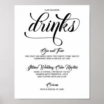 Wedding Themed Signature Drinks Cocktails Wedding Sign - Black