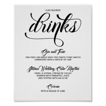 Wedding Themed Signature Drinks Cocktails Wedding Sign - Black