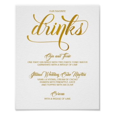 Wedding Themed Signature Drinks Wedding Sign - Gold Foil (Faux)