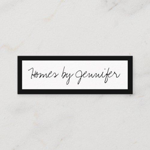 Signature Handwriting Black Border Profile Mini Business Card