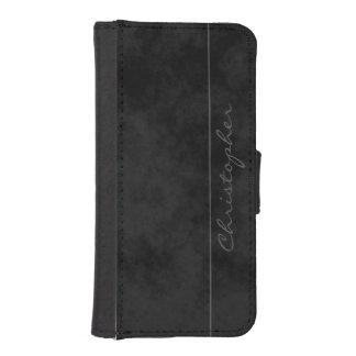 Signature Mottled Black Dashing Wallet Phone Case For iPhone SE/5/5s