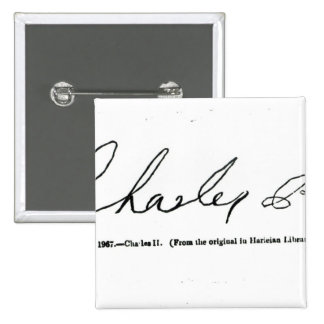 Signature of Charles II 2 Inch Square Button