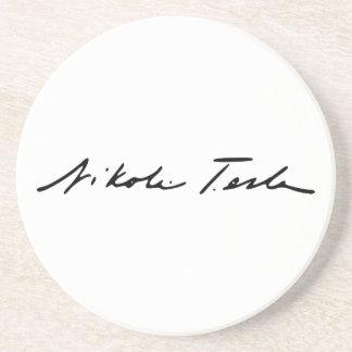 Signature of Electricity Genius Nikola Tesla Drink Coaster