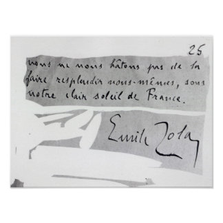 Signature of Emile Zola Poster