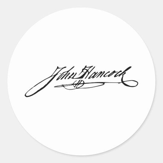 Signature of Founding Father John Hancock Classic Round Sticker