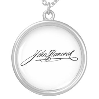 Signature of Founding Father John Hancock Silver Plated Necklace