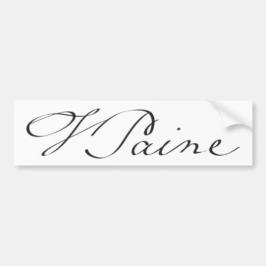 Signature of Founding Father Thomas Paine Bumper Sticker