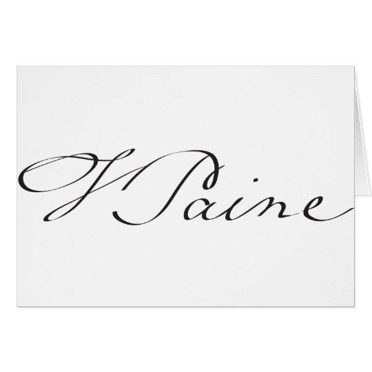 Signature of Founding Father Thomas Paine Card