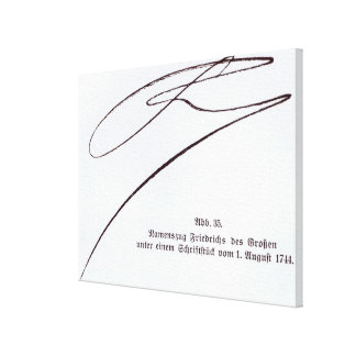 Signature of Frederick the Great Canvas Print