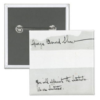 Signature of George Bernard Shaw 2 Inch Square Button