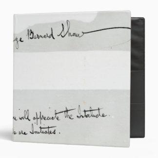 Signature of George Bernard Shaw Binder