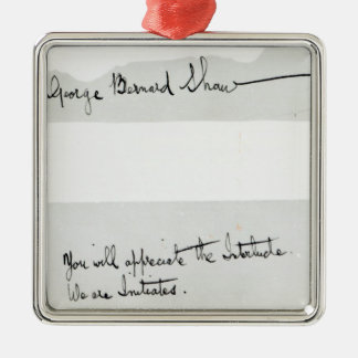 Signature of George Bernard Shaw Metal Ornament