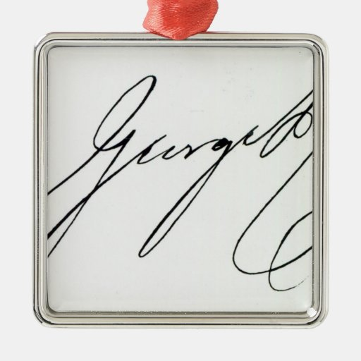 Signature of George IV Square Metal Christmas Ornament
