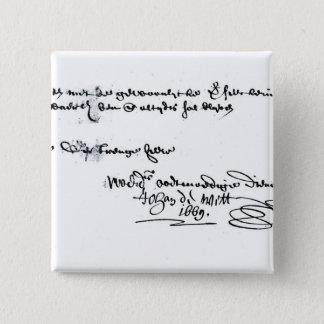 Signature of Johan de Witt Button