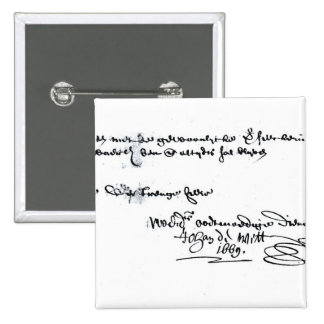 Signature of Johan de Witt 2 Inch Square Button