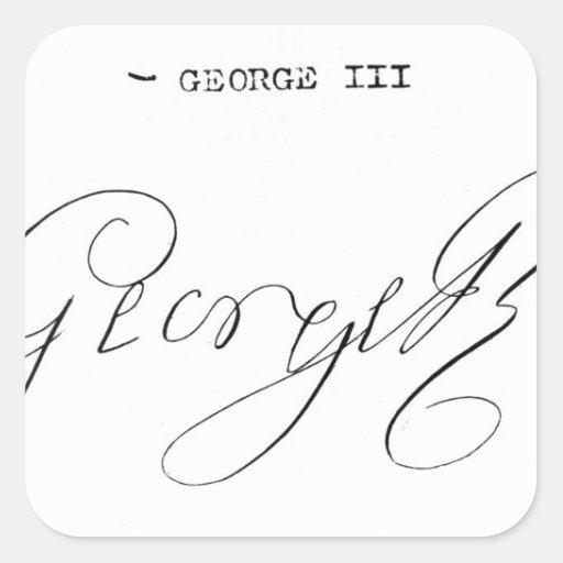 Signature of King George III Square Sticker