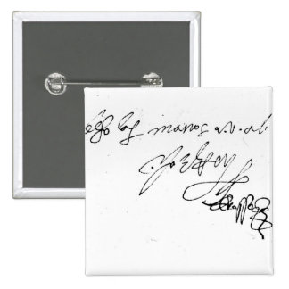 Signature of Lady Jane Grey 2 Inch Square Button