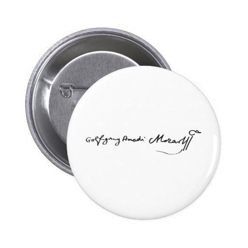 Signature of Musician Wolfgang Amadeus Mozart Buttons