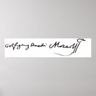 Signature of Musician Wolfgang Amadeus Mozart Poster