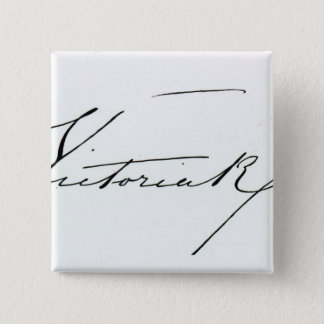 Signature of Queen Victoria (pen and ink on paper Button