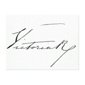 Signature of Queen Victoria (pen and ink on paper Stretched Canvas Print