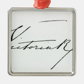 Signature of Queen Victoria (pen and ink on paper Metal Ornament