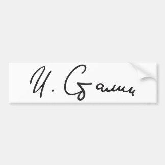Signature of Soviet Union Premier Joseph Stalin Bumper Sticker
