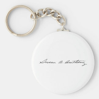 Signature of Suffragette Susan B. Anthony Basic Round Button Keychain