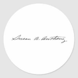 Signature of Suffragette Susan B. Anthony Classic Round Sticker