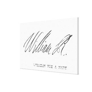 Signature of William III of England Canvas Print