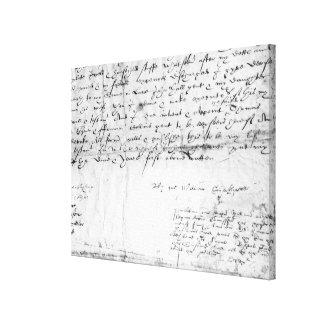 Signature of William Shakespeare , 1616 Canvas Print