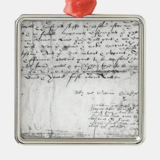 Signature of William Shakespeare , 1616 Metal Ornament