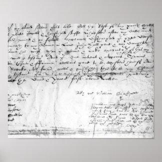 Signature of William Shakespeare , 1616 Poster