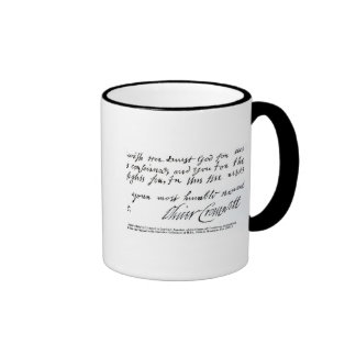 Signature Oliver Cromwell,from handwritten Ringer Coffee Mug