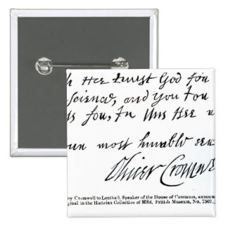 Signature Oliver Cromwell,from handwritten Pinback Button