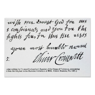 Signature Oliver Cromwell,from handwritten Poster
